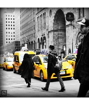 Taxis de New-York en noir et blanc
